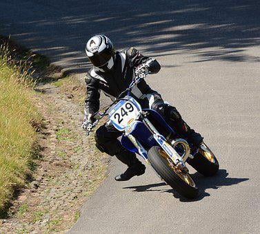 Motorbike, Leaning, Hillclimb, Speed, Motorsport