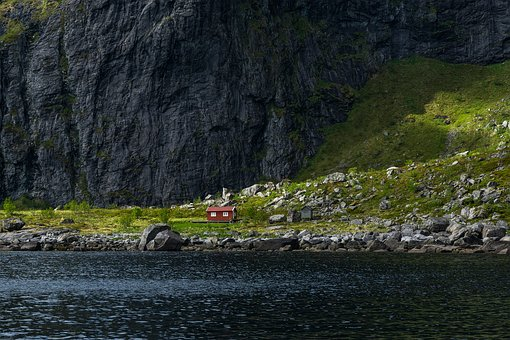 Norway, Lofoten, Nature, Mountains, Water, Sea, Hut