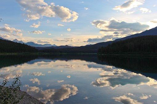 Patricia Lake, Lake, Dusk, Forest, Reflection, Water