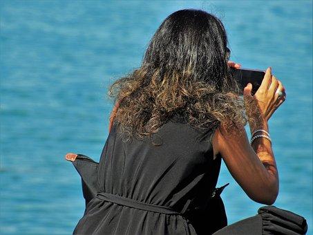 Woman, Photography, Phone, Shot, Dress, Lake, Photos