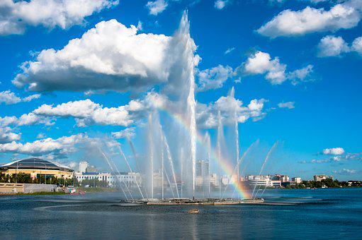 Water, Fountain, City, Kazan, Wet, Reservoir, Quay