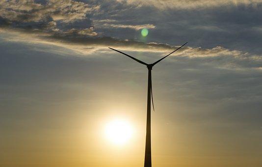 Back Light, Sunset, Pinwheel, Wind Power, Wind Energy