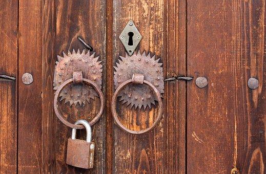 Door, Ring, Round, Old, Design, Texture, Tree, Surface