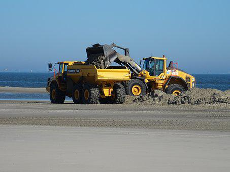 Wangerooge, Beach, Dike Construction, Wheel Loader