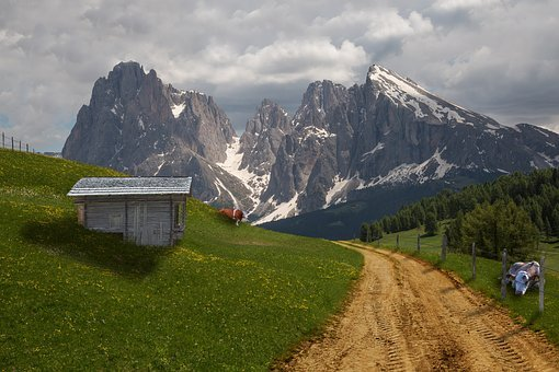 Alm, Alpine, Cow, Collage, Meadow, Hut, Mountains