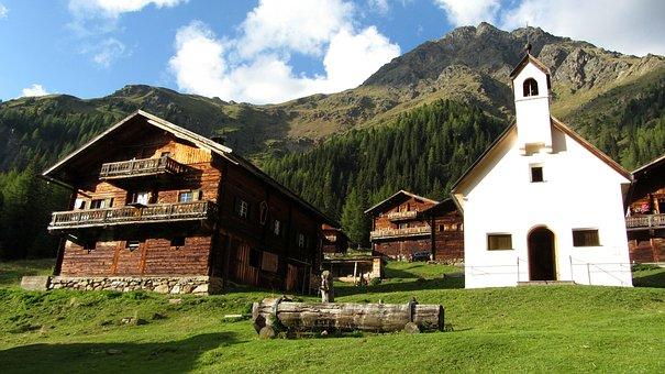 Bergdorf, Mountains, Alm, Alpine Huts, Nature
