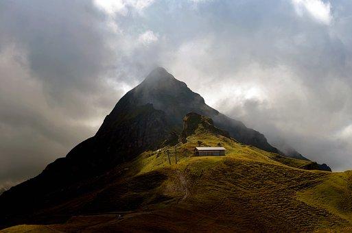 Weird, Alpine, Hill, Switzerland, Tschuggen, Male