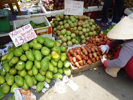 Street Fruit Vendor, Fresh, Fruits, Asia, Vietnam