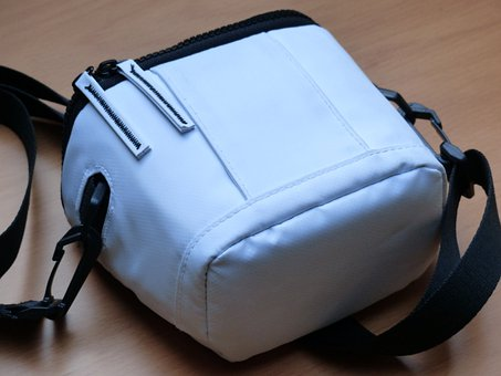 Photo Bag, Bag, White, Zip, Camera Bag, Belt