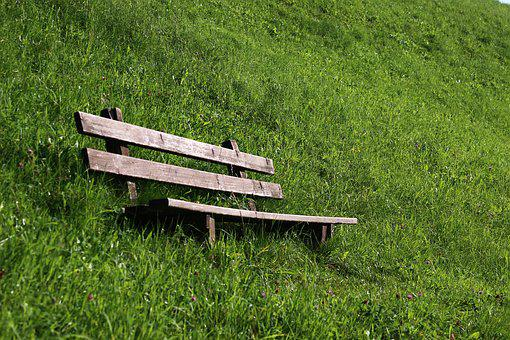 Bank, Rest, Meadow, Green, Nature, Wooden Bench