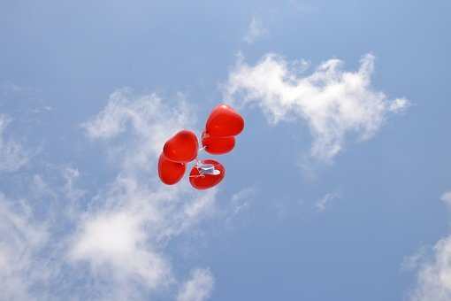Blue Sky, Red Balloons, Blue, Sky, Heart, Balloon