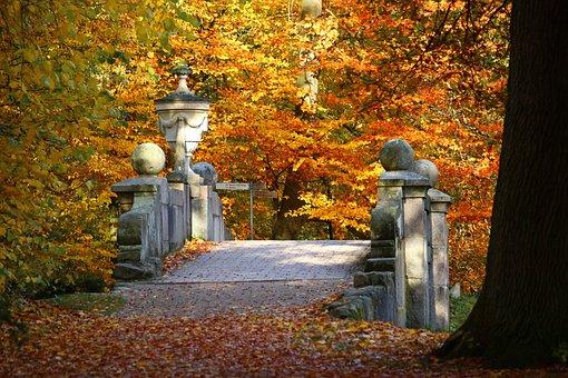 Bridge, Autumn, Fall Foliage, Castle Park