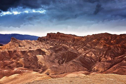 Sunset, Death Valley, California, Landscape, Dark