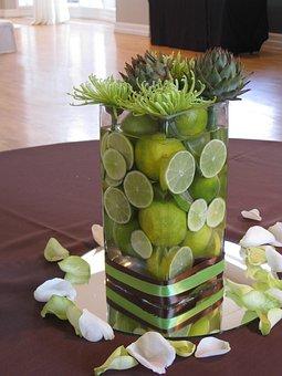 Limes, Centerpiece, Vase, Green, Decoration