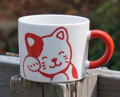 Ceramic Cat Mug, Mug, Ceramic, Red And White, Cute, Cat