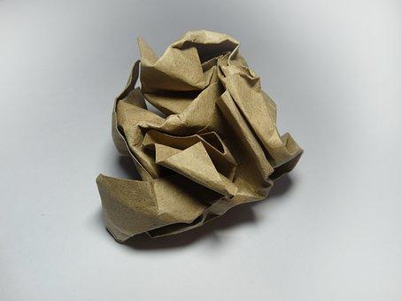 Crumpled Paper, Kraft, White Background, Ball