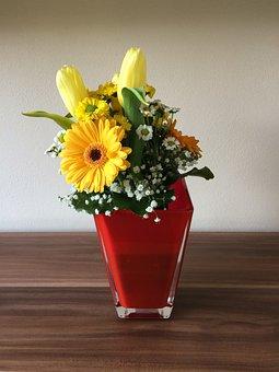 Flower, Glass Vase, Flowers, Yellow, Chrizantéma, Tulip