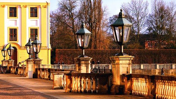 Lamps, Oran, Kassel, Orangery, Yellow, Castle, Germany