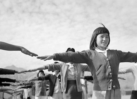 Girl, Children, Manzanar, World War Ii, Black And White
