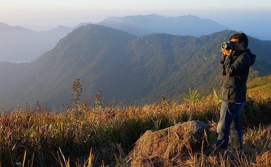 Mountains, Photographer, Camera, Landscape, Nature