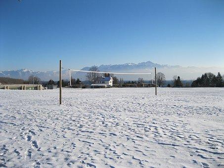 Field, Volleyball, Snow, Net, Winter, Vacuum
