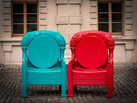 Chair, Red, Turquoise, Seat, Out, Plastic, Artificial