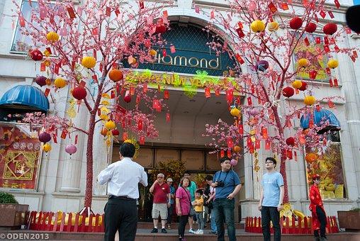 Diamond Plaza, Saigon, Vietnam, Lunar New Year, City