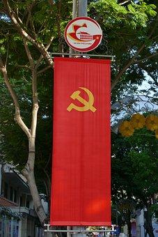 Vietnam, Saigon, Flag, Hammer, Sickle, Communism, Red