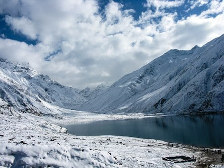 Lake, Snow, Nature, Landscape, Sky, Water, Blue