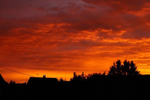 Sunset, Afterglow, Glow, Red, Orane, Sky, Nature, Storm