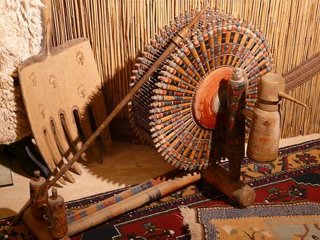 Spinning Wheel, Spindles, Carpet Weaving Center, Turkey