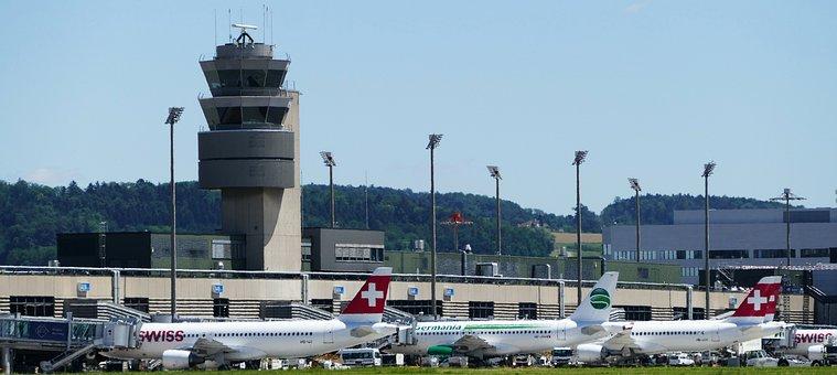 Airport, Zurich, Balls, Tower, Terminals, Aircraft