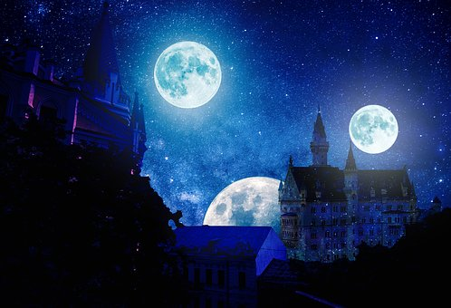 Story, Night, Moon, Sky, Castle, Another Planet, Dream