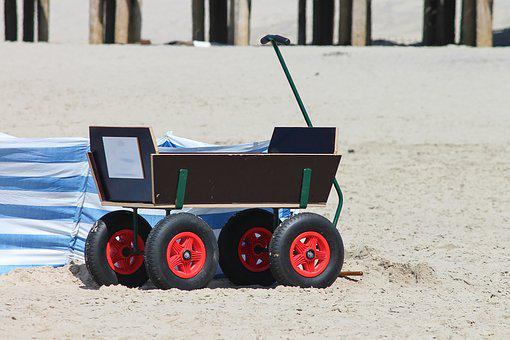 Stroller, Beach, Beach Dare, Wheels, Drag, Holiday