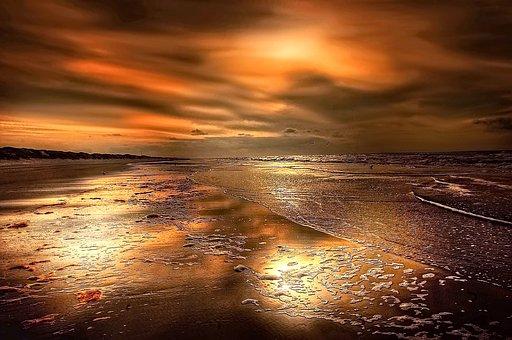 Denmark, North Sea, Beach, Clouds, Sun, Sea, Sky, Water