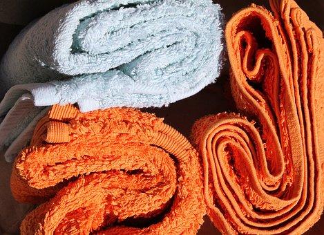 Towels, Orange, Blue, Soft, Colour, Backdrop, Cuddly