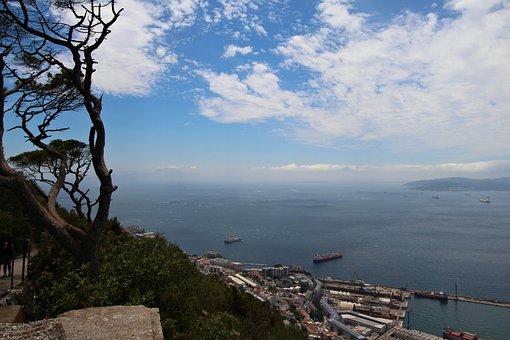 Gibraltar, Strait, British, Clouds, Sky, Landscape