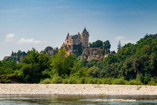 Dordogne, France, River, Castle, Landscape, Trees