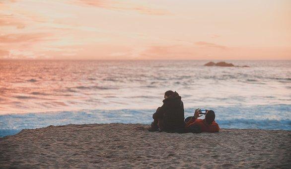 Beach, Couple, Cellular, Sunset