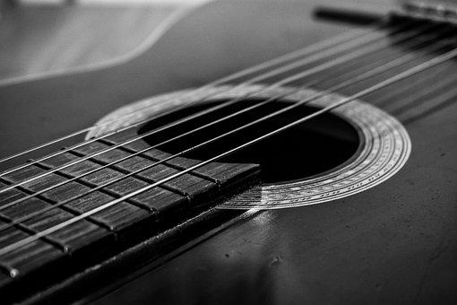 Guitar, Black And White, Music, Song, Musical, Classic