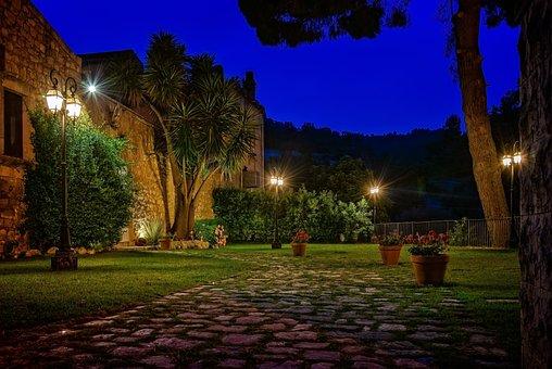 Park, Garden, Plant, Night, Dark, Idyll, Romantic