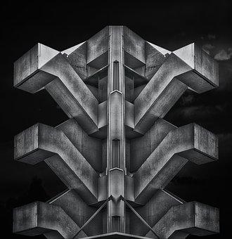 Monument, Mirroded, Concrete, Stairway, Escheresque