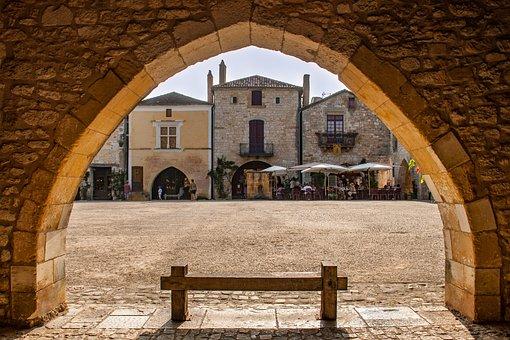 France, City, Monpazier, Dordogne, Marketplace, Market