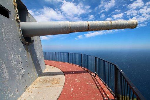 Gibraltar, Gun, British, Mediterranean, Horizon