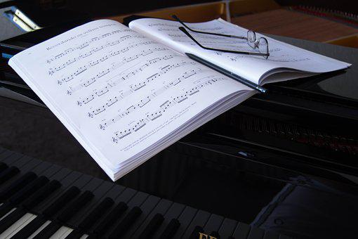 Music Sheet, Glasses, Piano, Grand Piano, Book, Black