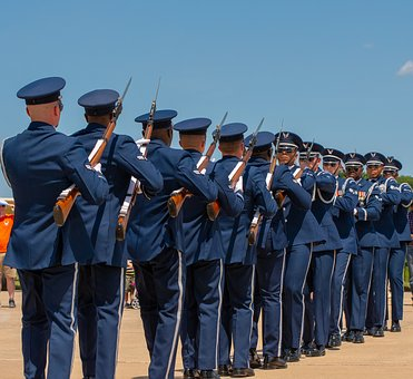 Military, Air Force, Guns, Solder, Marching