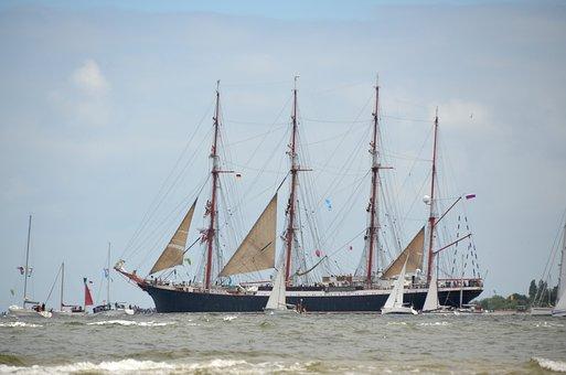 Sail, Ship, Kiel Week, Sea, Boat, Sailing Boat