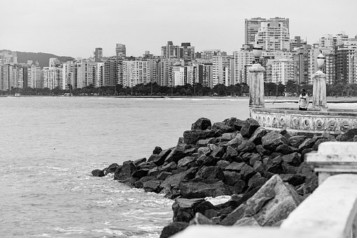 Beach, Orla, Santos, Brazil, Mar, Litoral, Nature