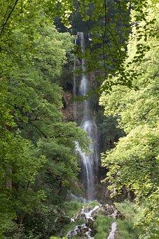 Waterfall, Mountain, Forest, Nature, Human, Idyllic