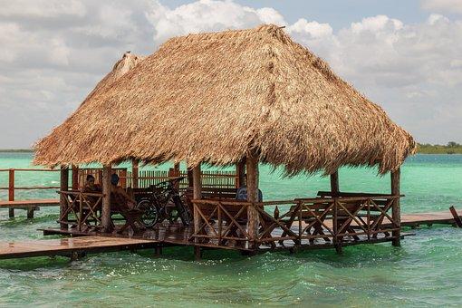 Bacalar, Laguna, Palapa, Nature, Mexico, Water